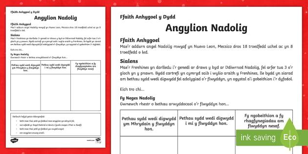 Ffaith Anhygoel y Dydd Negeseuon Nadolig Diwrnod 6 Taflen Weithgaredd - Christmas Wales, Welsh Medium, Ffaith anhygoel y dydd, taflen weithgaredd, Problemau Nadolig, Angyli, dydd , ddydd, ddiwrnod