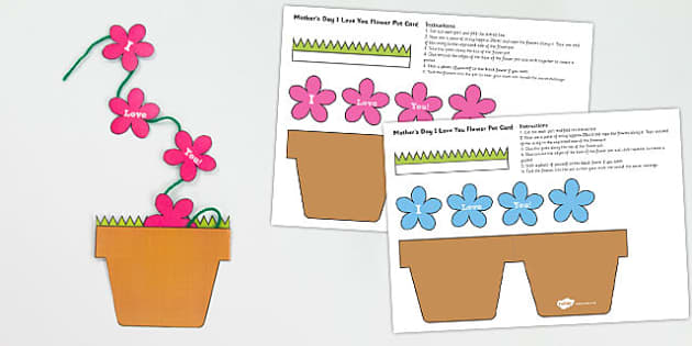 Mothers Day Flowers in Pot Card Craft - mothers day, flowers, pot
