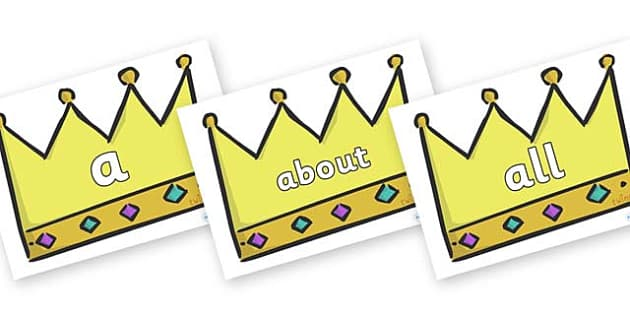 100 High Frequency Words on Crowns (Plain) - High frequency words, hfw, DfES Letters and Sounds, Letters and Sounds, display words