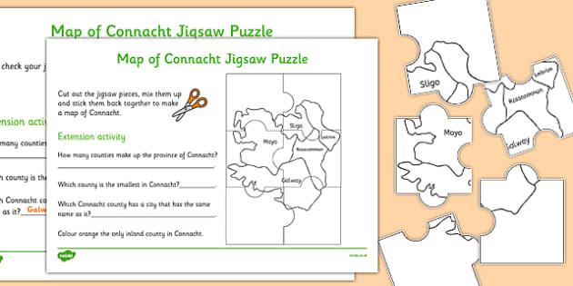 Map of Connacht Jigsaw Puzzle - roi, irish, republic of ireland, map, connacht, jigsaw, puzzle