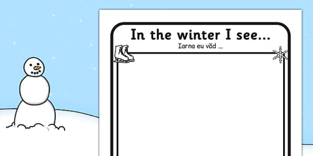 In the Winter I See Writing Frame Romanian Translation - romanian, in winter, I see, writing frame, writing, frame