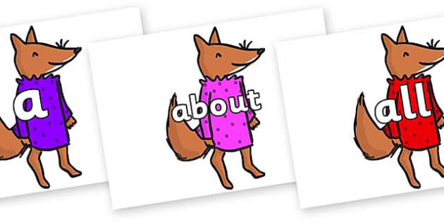 100 High Frequency Words on Small Fox 3 to Support Teaching on Fantastic Mr Fox - High frequency words, hfw, DfES Letters and Sounds, Letters and Sounds, display words