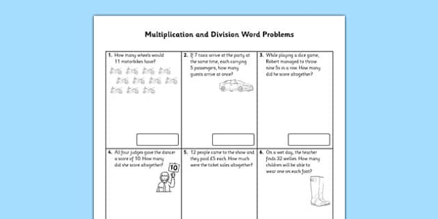 Year 2 Multiplication and Division Word Problems x2 x5 x10 – Multiplication and Division Word Problems Worksheet