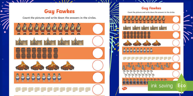 Guy Fawkes Themed Counting up to 20 Activity Sheet