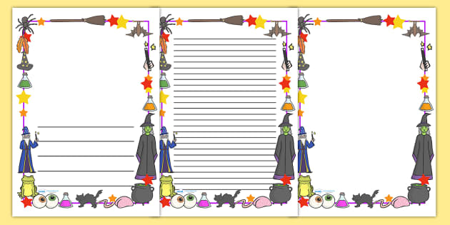 Magic Page Borders - witch, magic, page border, border, wizard, spell, cauldron, wizard's tower, writing template, writing aid, writing aid