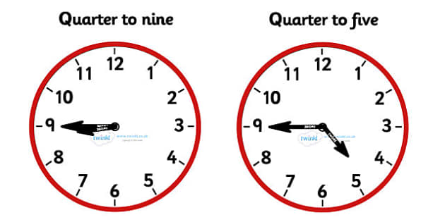 Analogue Clocks - Quarter To - education, home school, child development, children activities, free, kids, math games, worksheets, number work
