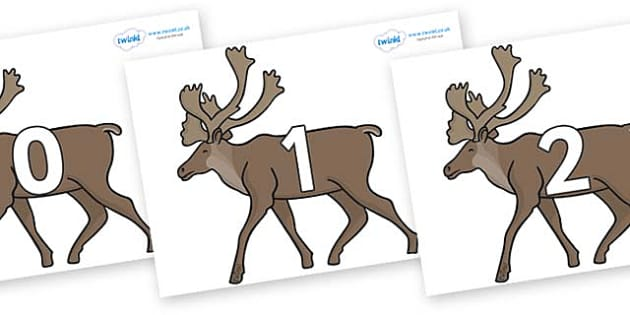 Numbers 0-31 on Caribous - 0-31, foundation stage numeracy, Number recognition, Number flashcards, counting, number frieze, Display numbers, number posters