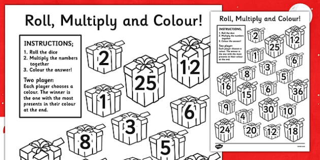 Christmas Present Colour And Roll Multiplication Activity - christmas, presents, colour and roll, multiplication, maths, numeracy, numeracy activities
