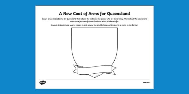 Queensland Coat of Arms Design Sheet - australia, Queensland, QLD, emblem, coat of arms, design, drawing, art