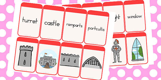 Castles and Knights Matching Flashcards - australia, flashcards