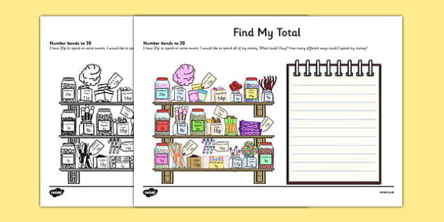 Find My Total (Number Bonds to 20) Activity Sheet, worksheet