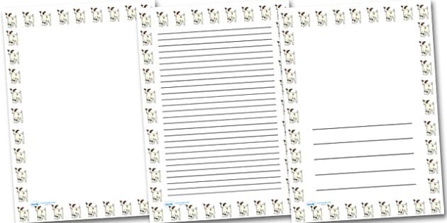 Baby Goat Kid Portrait Page Borders- Portrait Page Borders - Page border, border, writing template, writing aid, writing frame, a4 border, template, templates, landscape