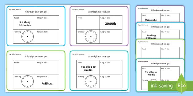 Converting Time Challenge Cards Gaeilge - The Time - Gaeilge & Ulster Gaeilge translationsAn t-am, ag athrú amanna, o'clog, leath, ceathrú,