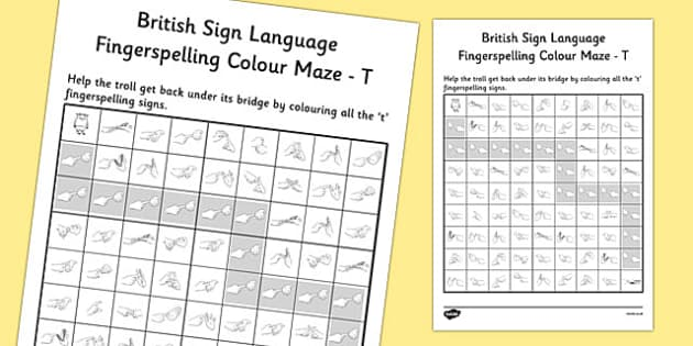 British Sign Language Fingerspelling Colour Maze T - colour, maze