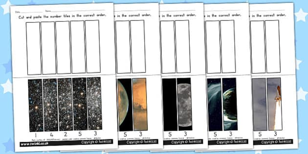 Space Themed Number Sequencing Photo Puzzles - australia, space