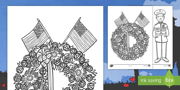 Memorial Day Coloring Page -  - color, numbers, number recognition, art, mindfulness