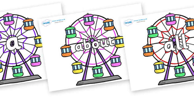 100 High Frequency Words on Ferris Wheels - High frequency words, hfw, DfES Letters and Sounds, Letters and Sounds, display words