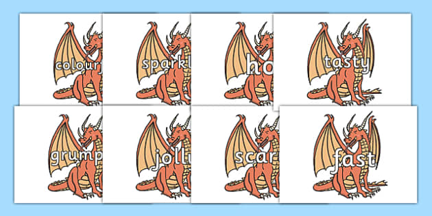 Wow Words on Dragons - Wow words, adjectives, VCOP, describing, Wow, display, poster, wow display, tasty, scary, ugly, beautiful, colourful sharp, bouncy