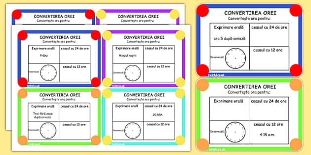 Conversiunea orei, Cartonase cu probleme - unitati de masura, timp