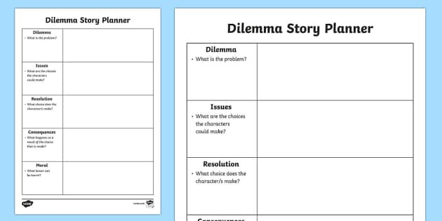 Dilemma Story Planner - dilemma story planner, dilemma, story planner, plan, stories, writing, frame writing template, template, help, introduction, issues, resolution, consequences, moral