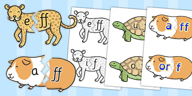 Vowel and Final 'F' Sound Animal Jigsaw - final f, sound, vowel