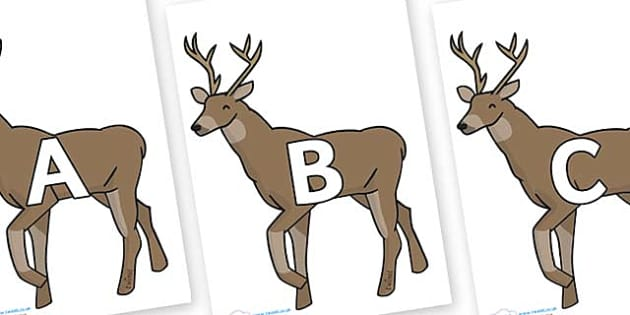 A-Z Alphabet on Stags - A-Z, A4, display, Alphabet frieze, Display letters, Letter posters, A-Z letters, Alphabet flashcards