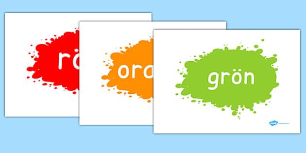 Swedish Colour Words on Splats - swedish, colour, words, splat