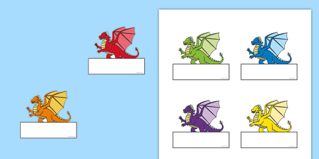 Editable Self Registration Labels (Dragons) - Self registration, register, dragons, dragon, editable, labels, registration, child name label, printable labels