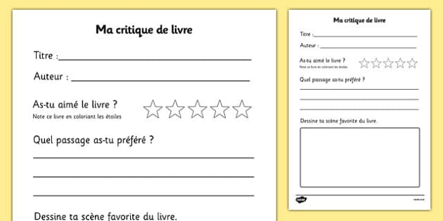Ma critique de livre - french, book review, book review template, my book review, book report, book report template, reading, reading and writing