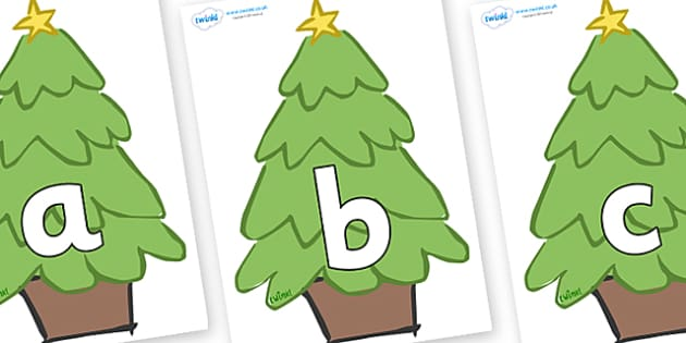 Phoneme Set on Christmas Trees (Plain) - Phoneme set, phonemes, phoneme, Letters and Sounds, DfES, display, Phase 1, Phase 2, Phase 3, Phase 5, Foundation, Literacy