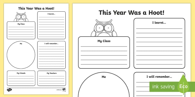 This Year Was a Hoot! End of Year Activity Sheet - End of Year, end of year worksheet, end of year activity sheet, transition worksheet, transition act