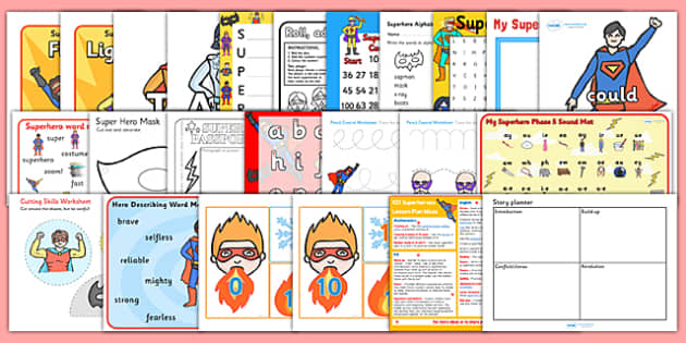 Superheroes KS1 Lesson Plan Ideas and Resource Pack - plan, pack