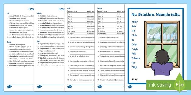 Na Briathra Neamhrialta Activity Sheets Gaeilge - Requests - ROI, Irish, Gaeilge, grammar, gramadach na gaeilge. na briathra neamhrialta, irregular ve