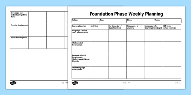 Foundation Phase Weekly Planning for 7 Areas of learning - welsh, cymraeg, Foundation Phase Planning, 7 Areas of Learning, Fortnightly, Weekly