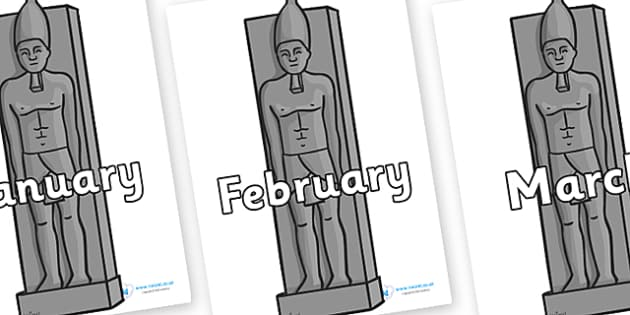 Months of the Year on Egyptian Statues - Months of the Year, Months poster, Months display, display, poster, frieze, Months, month, January, February, March, April, May, June, July, August, September