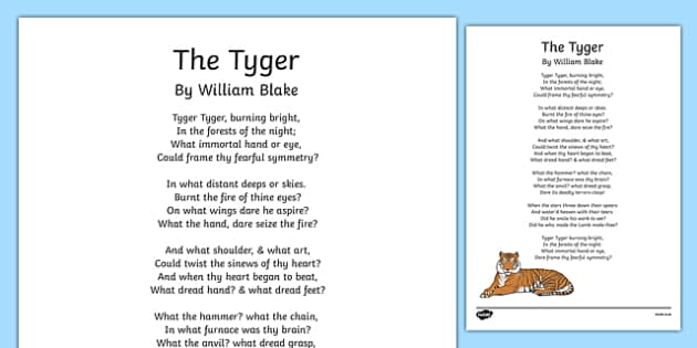 The Tyger Poem Print-Out - the tyger, poem, print out, poetry, key stage 2 poetry, ks2