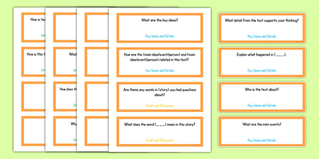 Common Core Kindergarten Reading Informational Text Question Stem Cards USA - American, comprehension, prompts, story, non-fiction, English