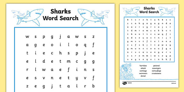 Australian Animals Years 3-6 Sharks Differentiated Word Search - australia, Australian Curriculum, animals, fish, sharks, activity, wordsearch