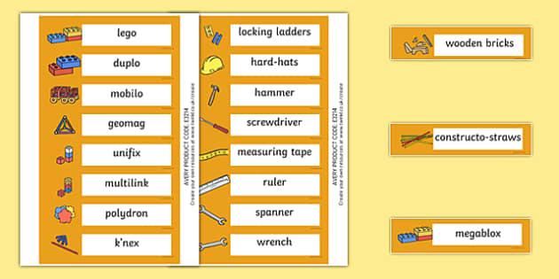Kingfisher Themed Editable Construction Area Resource Labels - Themed Construction resource labels, Label template, Resource Label, Name Labels, Editable Labels, Drawer Labels, KS1 Labels, Foundation Labels, Foundation Stage Labels