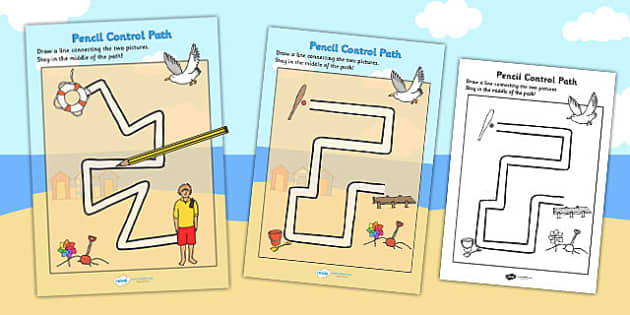 Seaside Themed Pencil Control Path Sheets - fine motor skills