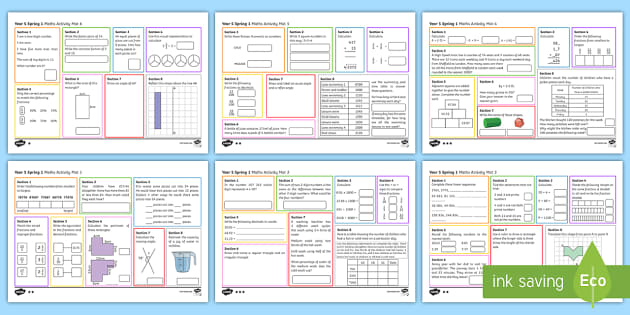 Year 5 Spring 1 Maths Activity Mats - Year 5, Y5, maths activity mats, homework, home learning, morning activities, starters.
