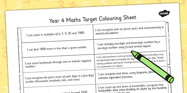 2014 Curriculum Year 4 Maths Target Colouring Sheet - numeracy