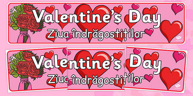 Valentine's Day Display Banner Romanian Translation - romanian, Valentine's Day, Valentine, love, Saint Valentine, heart, kiss, display, banner, sign, poster, cupid, gift, roses, card, flowers, date, letter, girlfriend, boyfriend, partner