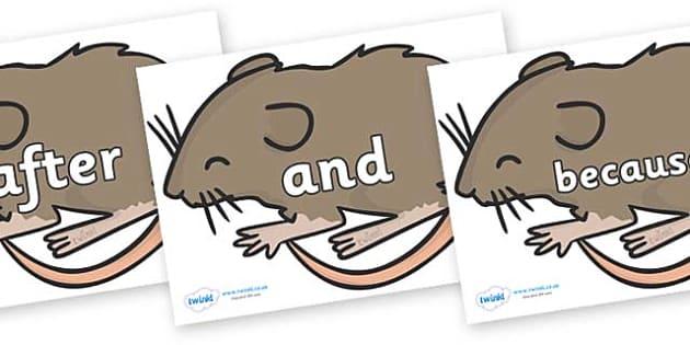 Connectives on Mice - Connectives, VCOP, connective resources, connectives display words, connective displays