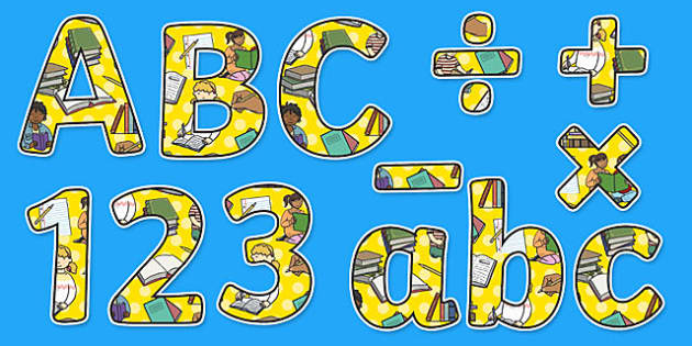 English Themed Display Letters and Numbers Pack - English Lettering, Literacy Lettering, Literacy display lettering, english