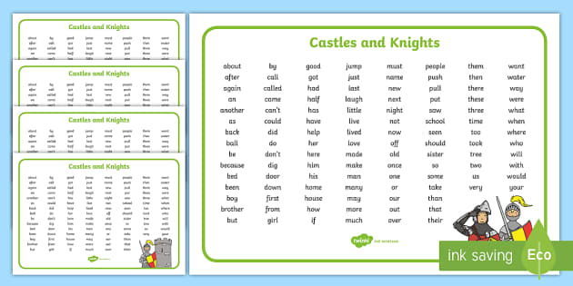 Castles and Knights Themed KS1 Word Mat - key stage one, word mat
