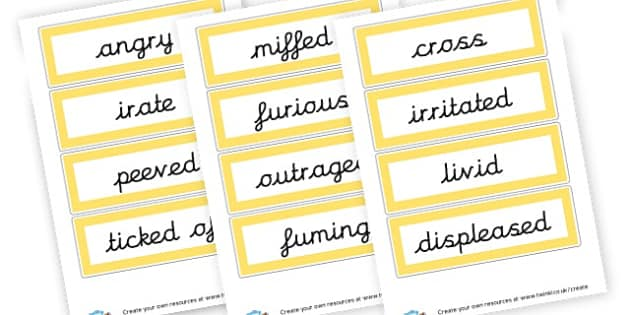 Angry Synonyms - Synonyms & Antonyms Primary Resources, similar words