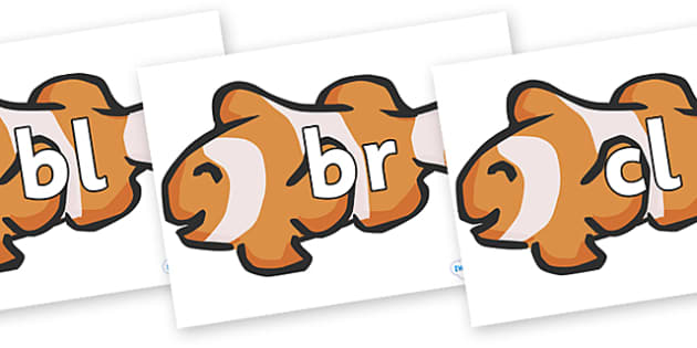 Initial Letter Blends on Clown Fish - Initial Letters, initial letter, letter blend, letter blends, consonant, consonants, digraph, trigraph, literacy, alphabet, letters, foundation stage literacy