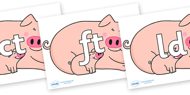 Final Letter Blends on Hullabaloo Pigs to Support Teaching on Farmyard Hullabaloo - Final Letters, final letter, letter blend, letter blends, consonant, consonants, digraph, trigraph, literacy, alphabet, letters, foundation stage literacy