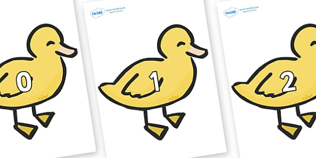 Numbers 0-100 on Ducklings - 0-100, foundation stage numeracy, Number recognition, Number flashcards, counting, number frieze, Display numbers, number posters
